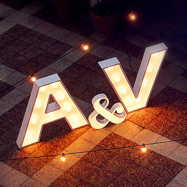 Alquiler de letras luminosas para bodas letras decoraci n for Letras gigantes para bodas baratas