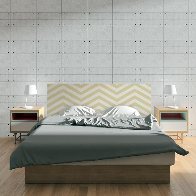 Cabecero de cama, de madera natural con impresión directa sobre la madera.