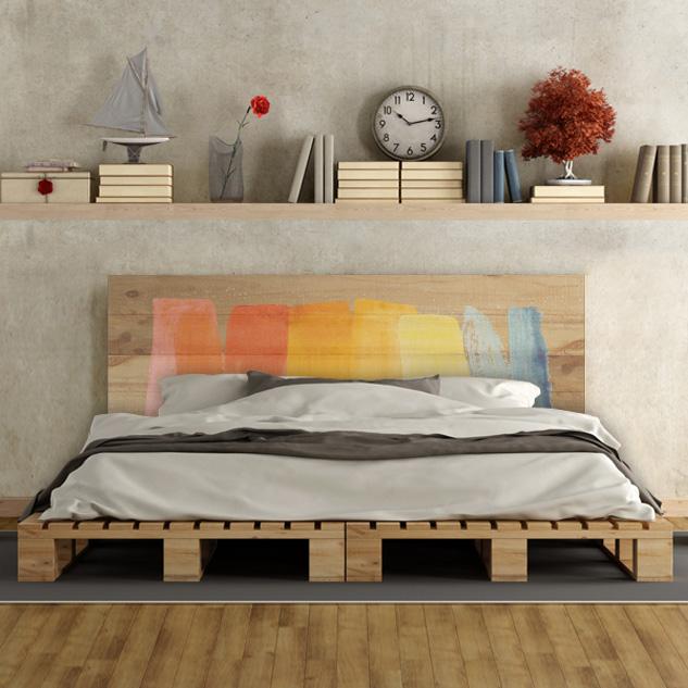 Cabecero de cama de madera de pino natural