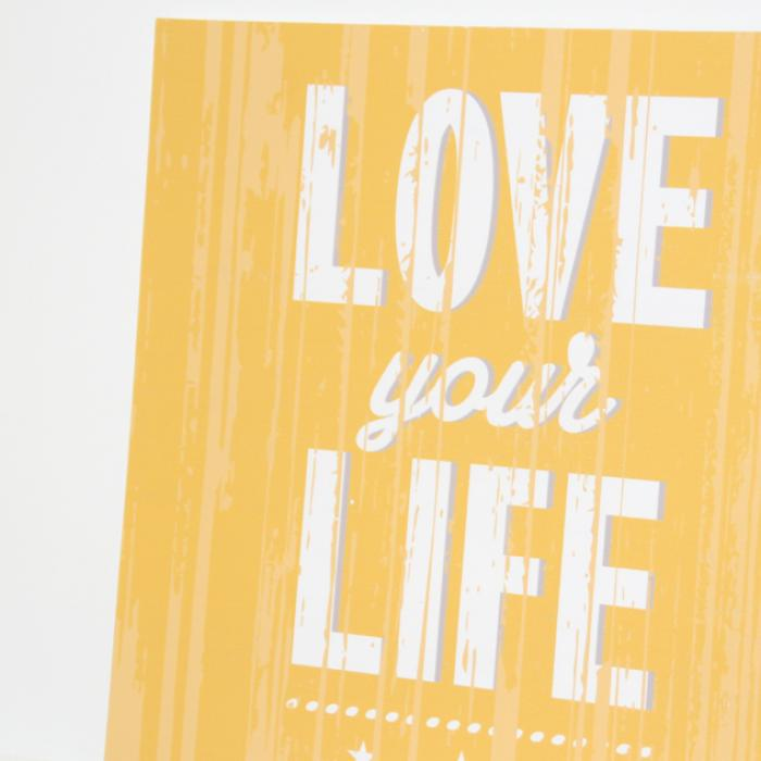 "Cartel madera ""Love your life"" detalle"