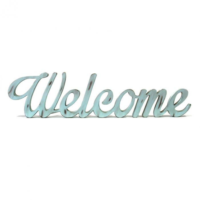 """Welcome"" decorativo azul"