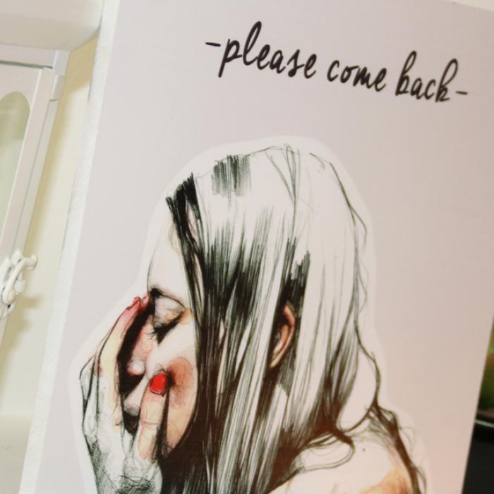 "Cartel decorativo de madera ""Please come back"" detalle"